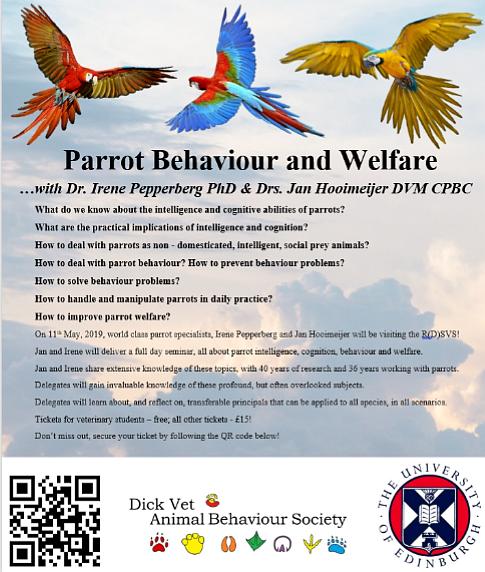 Masterclass Parrot Behavior and Welfare, University of Edinburgh